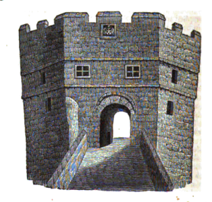 drawing of an old tower from the medieval Tyne bridge